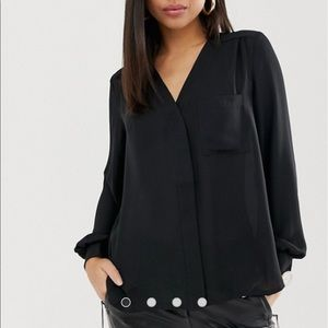 ASOS Long Sleeve Blouse with Pocket Detail